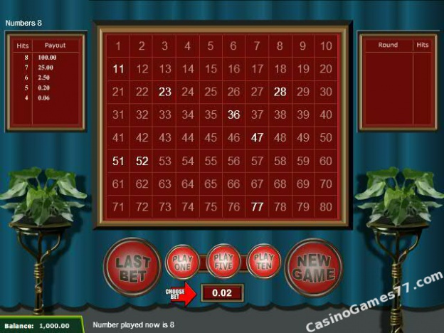 casino game high keno online payouts