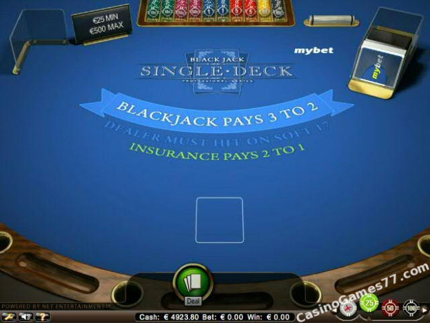 blackjack single deck low netent
